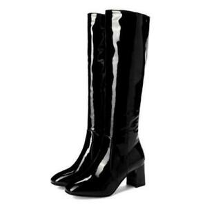 Side Zip Hippie Knee High Boots Women's Patent Leather GoGo Disco Dancer Shoes