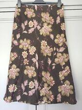 Lined Monsoon Linen Skirt Mink Beige Plum Soft Pink Wedding Cruise Size 12
