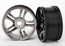 Traxxas TRA6478 Front SS Split-Spoke Black-Chrome Wheels (2): 1/7 XO-1 / X0-1