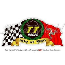 ISLE of MAN TT Races MANX Moto GP Racing Casque De Vélo Sticker Autocollant 10cm