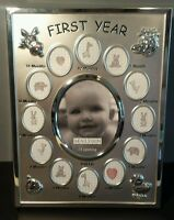 Malden Baby's First Year Collage Picture Frame Silver Baby Gift Month by Month