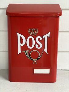 New Red Swedish Mailbox | Wall Mounted Danish English Vintage Style