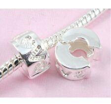 10pcs Silver Clip Lock Stopper Love Beads Fit European Charm Bracelet T10