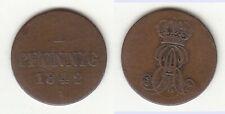 Cu 1 Pfennig 1842 A Hannover Ernst August gekr. Monogramm Welter 3172