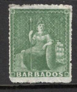 BARBADOS 1861-70  SG 22  ½d. Grass Green  M. Mint + No Gum  Good Quality & Sound