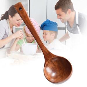 LN_ Kitchen Wooden Cooking Spoon Wood Soup Porridge Ladle Scoop Spoon Utensil