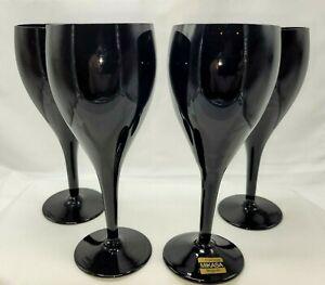 Mikasa Elite Elegance Midnight Black Wine Glasses 4 NICE