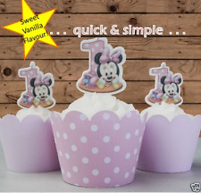 #516. baby minnie mouse #2 first 1st birthday EDIBLE wafer cupcake cake toppers