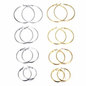 GIRLS PLAIN HOOP EARRING 2 / 3 Inch Inches Silver Gold Round Pair Set Accessory