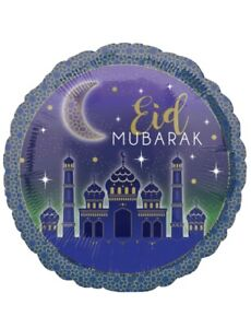 "18"" Eid Mubarak Party Foil Round Balloon Decoration Ramadan Kareem Circle Helium"