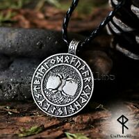 Yggdrasil Viking Necklace Norse Runes Pendant Tree of Life Silver Asatru Amulet