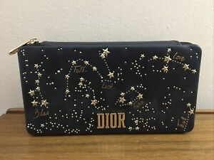 DIOR Beaute GOLDEN NIGHTS Black Faux Leather Clutch Cosmetic Makeup Bag NEW