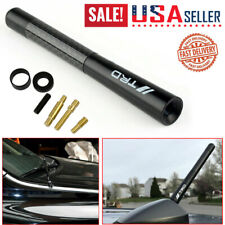 "Black Universal 4.7"" Carbon Fiber Car Antenna Adjustable TRD Emblem"