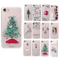 Christmas Pattern Soft TPU Silicone Painted Ultra Slim Case Cover For iPhone