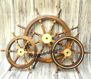 "Ship Steering Wheel Wooden 36"" & 24"" Wood Brass Fishing SET OF 3 Decor"