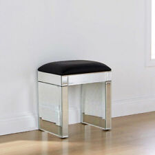 Mirrored Glass Furniture Stool With Black Faux Leather for Dressing Table