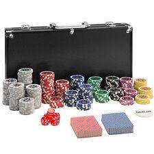 Maletín Póker set aluminio negro con 300 fichas láser poker chips + accesorios
