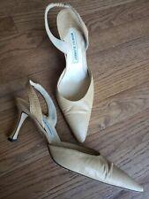 Manolo Blahnik Tan Snakeskin Size 38.5 Slingback Italy Stiletto Heels Pumps Shoe