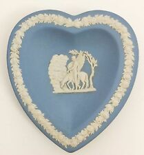 Wedgwood Jasper Heart Plate with Pegasus Design and Floral Wreath