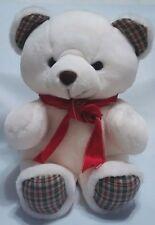 "Gerber Precious Plush White Teddy Bear Vtg 80's Plaid Fabric Ears & Feet 14"""