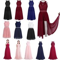 Girls Lace Flower Dress Junior Bridesmaid Party Wedding Long Gown Maxi Dresses