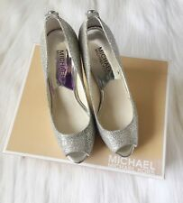 Michael Kors York Platform Silver Glitter Open Toe Pumps Shoes Size 5