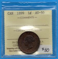 Canada 1899 1 Cent One Large Cent Coin - ICCS AU-50