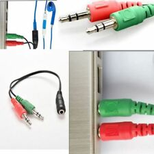 3.5mm AUX 1 Female to 2 Male Jack Audio Headphone Splitter MIC Y Cable PC Laptop