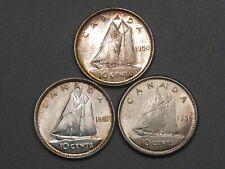 3 AU/UNC Canadian 10 Cents: 1950, 1951, 1956.  #26