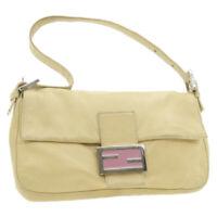 FENDI Mamma Baguette Shoulder Bag Beige Leather Auth rd2019