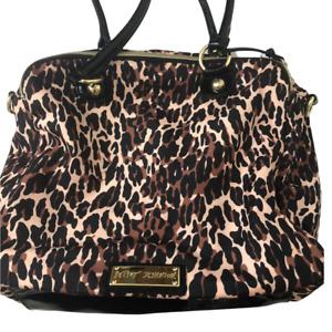 Betsey Johnson Womens Satchel Handbag Brown Leopard Print Phone Pocket Zipper M