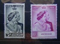Ascension 1948 Royal Silver Wedding set 3d MM 10s MNH (speck on gum see photo)