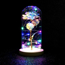 Enchanted Forever Red Rose In Glass Dome Wooden Base Home Office Room Decorate