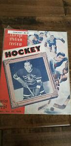 1946-47 CHICAGO STADIUM REVIEW PROGRAM RED WINGS @ BLACKHAWKS STAGS GORDIE HOWE