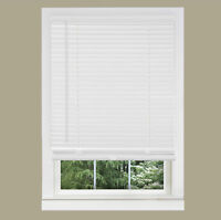 "Cordless Window Minds Mini Blinds 1"" Slats White Vinyl Blind"