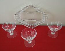 4 PC HEISEY CRYSTOLITE 3 CHAMPAGNE GLASS STEM WARE + 3 PART RELISH DIVIDED DISH