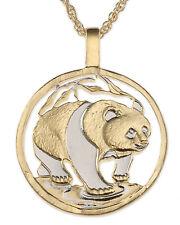 "Panda Bear Pendant & Necklace. Chinese Coin Hand cut. 1-1/8"" diameter ( # 746 )"