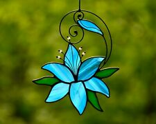 Stained glass lily suncatcher, flower windows hangings decoration