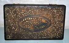 Antique Old India Wooden Hand Carved Storage Box Rare Collectible Rich Patina