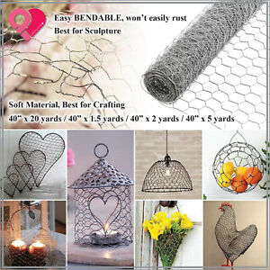 "Galvanized Poultry Net Metal Mesh Fencing Chicken Wire Rustic Silver 40"" 1-20yd"