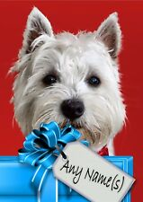 WESTIE WESTHIGHLAND TERRIER CHRISTMAS or BIRTHDAY CARD Personalised in & out
