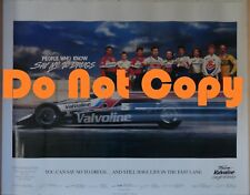 "VINTAGE 1990 Team Valvoline  ""Say No to Drugs""  Poster  26"" x 19"""
