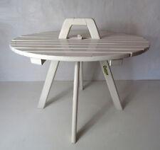 ancienne table basse ronde CLAIRITEX en bois laqué blanc vintage
