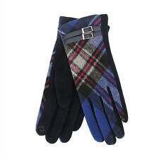 Tartan Traditions Scottish Royal Blue Ladies Women Gloves with Navy Buckle