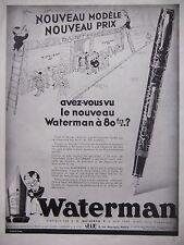 PUBLICITÉ 1933 LE NOUVEAU WATERMAN JIF A 80 Francs - ADVERTISING