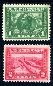 USAstamps Unused VF US 1913 Panama-Pacific Scott 397, 398 OG MVLH
