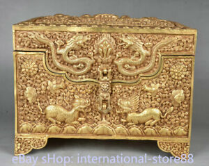 12.4 inch Old Tibet Copper 24K Gold Temple Double Dragon Beast Chest Jewelry Box