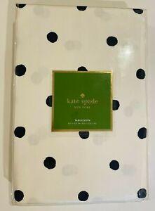 "Kate Spade Charlotte Street Polka Dot tablecloth 60""x120""100%COTTON,Navy Blue"