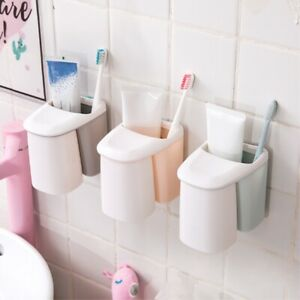 Bathroom Toothpaste Toothbrush Holder Storage Rack Shelf Set With Magnetic Cup