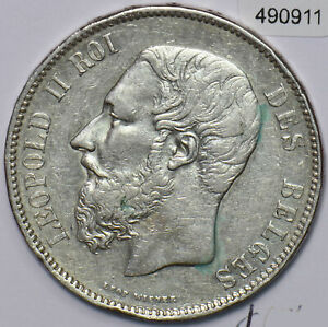 Belgium 1873 5 Francs Lion animal 490911 combine shipping